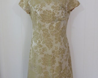 60's Damask Party Dress Floral Brocade Bow Short Sleeve Shift Cocktail Dress M L