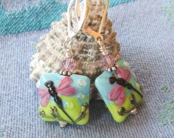 Detailed Dragonfly Lamp Work Square Earrings on Sterling Lever Backs, Multi-Colored Artisan Bead Earrings, Casual, Summer Earrings, Gift