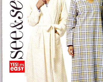BUTTERICK SEE&SEW Pattern B5410 Robe and Nightgown Misses Sz 6-14 Uncut Factory Folded