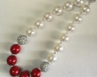 little girl chunky bead necklace red ivory grey bubble gum chunky baby necklace big girl necklace big bead necklace