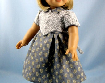 1930s Frock fits American Girl Dolls - 18 Inch Doll Clothes - Historic Doll Clothes - Kit or Ruthie -  Gray Tan and White - Florrie