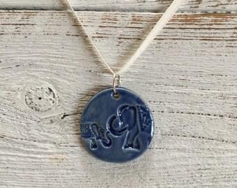 Royal Blue Ceramic Elephant Pendant, Zen, Mama abd Baby, Unique Gift, Elephants, Gift for Her, Ceramics, Elephant Jewelry, Ceramic Jewelry