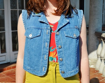 Vintage Blue Jean Vest Cropped Denim Sleeveless Jacket with Floral Embroidery
