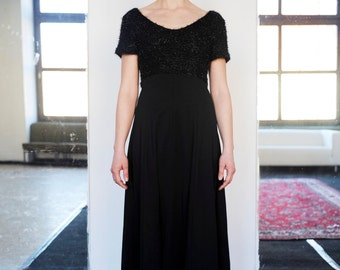 Vintage Long Black Glittery Fuzzy Bodice Open Back Evening Cocktail Dress