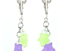 Trendy & Modern Purple, Green Stars Clip On Earrings for Girls, Teens, Ladies-Designer Frosted Glass Clip
