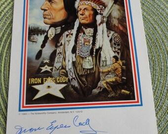 B526)  Iron Eyes Cody autogragh John Steele print