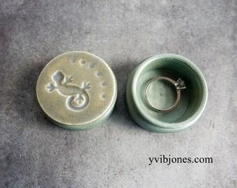 Gecko Mens Ring Box One of a Kind Jewelry Small Keepsake Unisex Tribal Birthday Gift for Him Trinket Treasures Handmade Ceramics Pottery