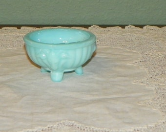 Antique Portieux Vallerysthal SALT DIP Holder Sellar Seller PV blue opaline glass Ram France French signed