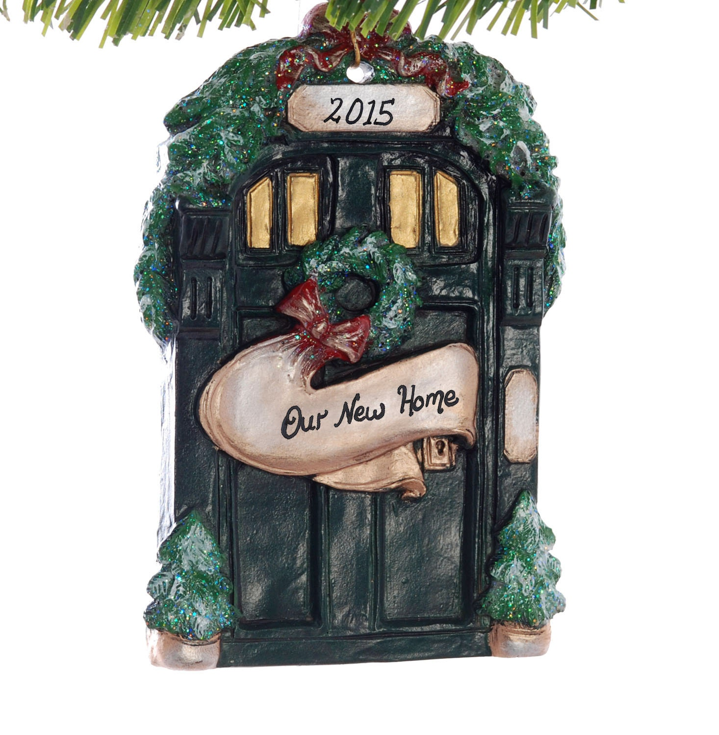 New Home Personalized Christmas Ornament Dark Green Front