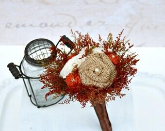 Toss Bouquet, Autumn Orange // Mini Bouquet, Burnt Orange, Burlap Flower, Dried Flowers, Sola Wood Rose, Wedding Flowers, Bridal Flowers