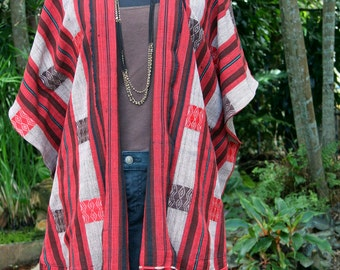 Women's Kimono Jacket With Fringe In Ethnic Naga Tribal Hand Woven Cotton - Raya
