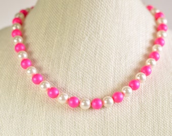 Pink and White Swarovski Pearl Necklace and Earrings