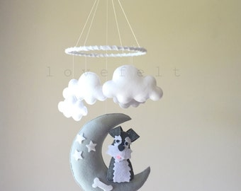 Baby mobile  - dog mobile - baby mobile dog - moon mobile - moon clouds mobile - baby mobile clouds