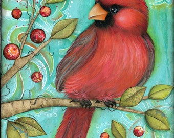 Cardinal Bird Wall Art - Bird Home Decor - Wall Art - Cardinal Bird with berries and branches - Bird Art Print