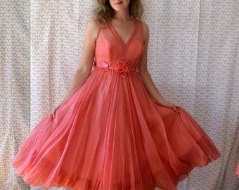 50's Coral Formal Dress / Illusion Sweetheart Bodice / Velvet Leaves