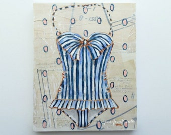 "Vintage bathing suit painting summer swim suit wall art - ""The Boardwalk"""