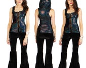 Hologram Hooded Corset Vest