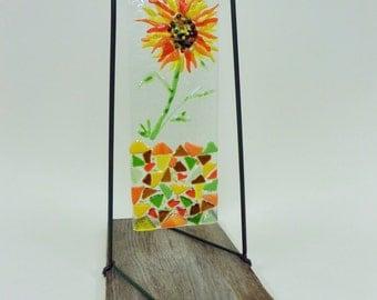 Fused Glass Sunflower Garden Art - Reclaimed Barn Board - Hanging Mosaic Suncatcher