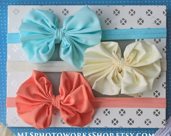 Free Shipping - Jumbo Chiffon Bow Headband Set in Coral, Ivory, and Aqua-Mint - Soft Newborn Hair Bow Gift Set with 3 Colors