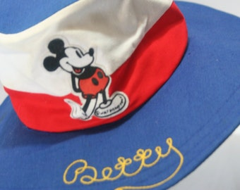 Vintage Disney Women's Wide Brim Floppy Sun Hat Mickey Mouse Felt Appliqué Embroidered Betty Monogram Magic Kingdom Disneyana DisneyLand