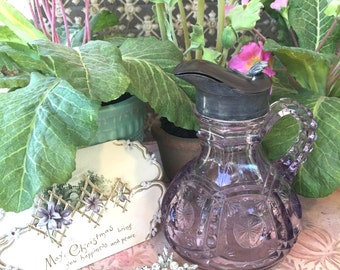 Beautiful Late Victorian Era Amethyst Glass Syrup Pitcher by Tarentum Glass Co.