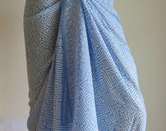 Soft Blue Batik Sarong, Beach Sarong, Pareo