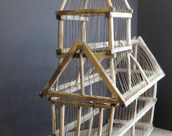 Vintage Primitive Church Wood and Wire Bird Cage // White Bird Cage // Shabby Chic // Garden Room Decor