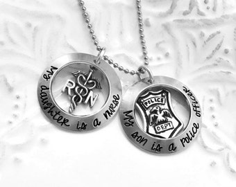 My Son is A Police Officer Firefighter Cop Hero My Daughter is A Nurse LPN Er Custom Necklace- Hand Stamped Jewelry - Personalized Jewelry
