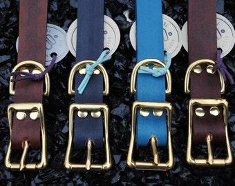 The Elessar Collar: Black & Brass Leather Dog Collar