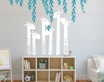 Giraffe Wall Decal with Jungle Vines  | Custom Baby Nursery and Children's Room Interior Design | Easy Application 082