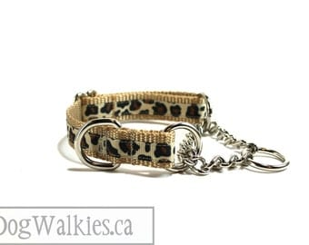 "Little Leopard Print Dog Collar - 3/4"" (19mm) Wide - Martingale or Side Release - Choice of collar style and size"