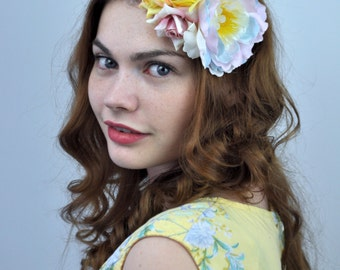 Peony and Roses Flower Hair Clip Fascinator in Pastel Yellow and Pink