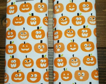 Reversible TODDLER Car Seat Strap Covers Riley Blake Halloween Pumpkins on White with Orange Dimple Dot Minky Cuddle Unisex Baby ITEM #037