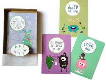 Mind Your Manners Monsters Flash Card Set. Kids Gift. Child play. Birthday Gift.