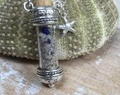 Maine sea glass beach sand in a bottle necklace, sea glass necklace, sea glass jewelry, sea glass, authentic Maine sea glass in a bottle