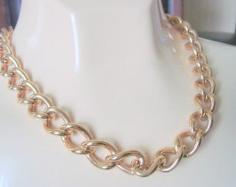 80s Chunky Modernist Goldtone Necklace / Vintage Jewelry / Jewellery