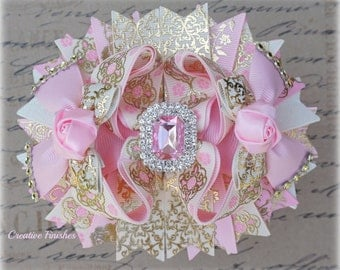 Pink Gold Bows, Large Over the Top Hair Bows