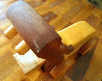 "Vintage Handmade Wooden Hippo Toy--Light/Dark Wood Mix--10-1/2"" Long x 4-1/2"" High x 2-3/4"" Wide"