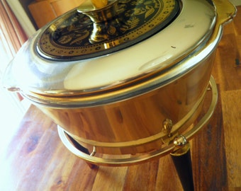 "1960s George Briard Black/Gold 2-Quart Server with Warming Stand--Fire King Casserole Insert--10"" High x 10"" Diameter--STUNNING"