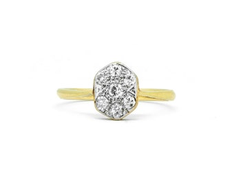 The Deco Diamond Hex Ring - 18ct Gold Diamond Plaque Ring