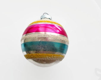 Shiny Brite Ornament, Large Mica, Striped and Silvered Glass Ball 1950s