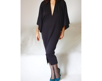 Deep V Neck Black Kimono Dress Sexy Bodycon Plus Size Evening Cocktail Formal Dress Little Black Dress Made to Measure Custom V Neck Dress