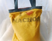 Upcycled Tee Shirt Tote I Heart Nachos T UPcycled Tote Bag Again