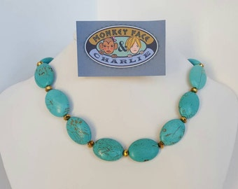 Magnesite and Gold Crystal Beaded Necklace