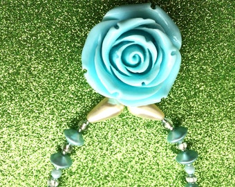 Pale Turquoise Blue Acrylic Rose Flower Pendant Necklace app 18 inches by JulieDeeleyJewellery Contemporary Jewellery