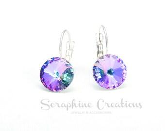 Vitrail Light Crystal Earrings Swarovski Rivoli Purple Pink Crystal Earrings Sparkly Bridal Bridesmaid Gift Bridal Bridesmaid Jewelry K011