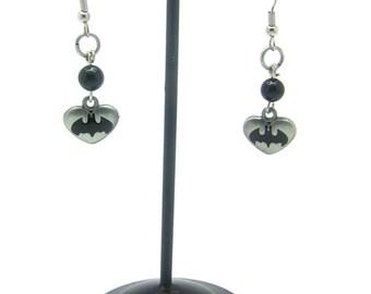 Batman Earrings, Dangle Earrings, Bat Earrings, Comic Book Earrings, Bat Symbol Earrings, Silver Earrings, Heart Earrings, Black Earrings