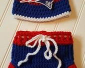 Last one! Newborn photo prop, New England Patriots hat & diaper cover set, baby shower gift, crochet Tom Brady beanie, crochet diaper cover