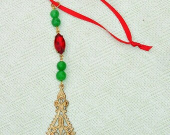 Beaded Holiday Icicle Ornament  or Sun Catcher
