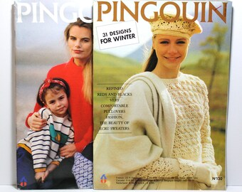 Knitting Magazines, Set of 2 Pingouin Magazines, Classic Knitting Patterns, Sweater Patterns for Women, Men, Children, Unisex Designs